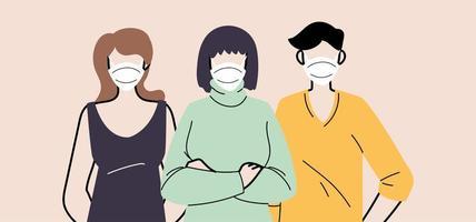 grupo de personas en mascarillas protectoras médicas vector