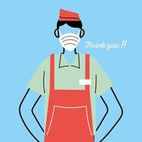 Male waiter with face mask and uniform vector