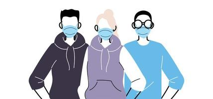 Group of people in protective medical face masks