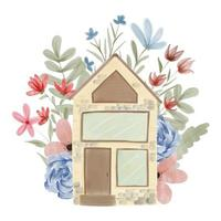 Hand painted watercolor house with flower decoration vector