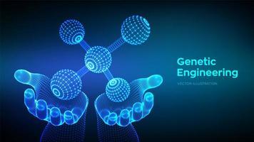 banner futurista de ingeniería genética vector