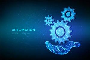 Mechanical technology and automation futuristic banner vector