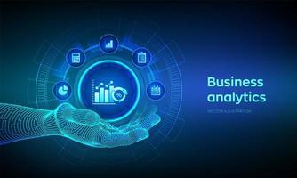 Business data analytics futuristic banner vector