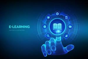 banner futurista de educación en línea de e-learning