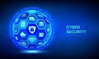 banner futurista de seguridad cibernética y de datos