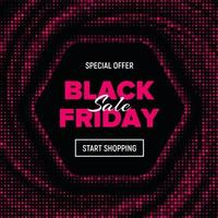 Pink dotted hexagon Black Friday sale banner vector