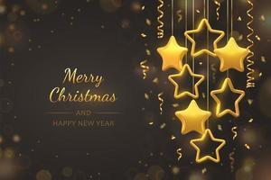 banner de celebración de feliz navidad con estrellas colgantes