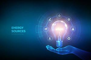 bombilla de luz para el concepto de recursos energéticos banner futurista