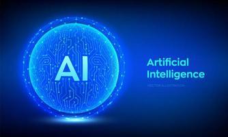 Artificial intelligence concept futuristic banner vector