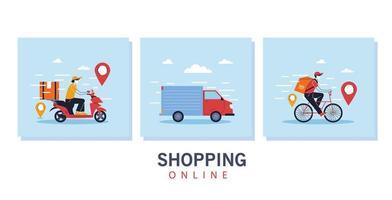 Conjunto de cenário de entrega, serviço, transporte e logística