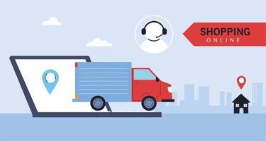 camión de reparto lleva la entrega a las personas, compras en línea