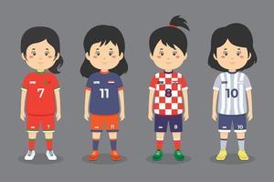 Female Soccer Character Set vector