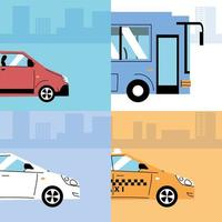 Different transportation vehicles, urban transport