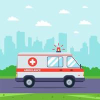 Ambulancia de guardia con paisaje urbano en segundo plano. vector