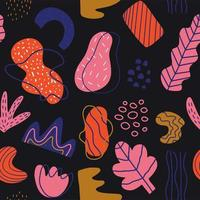 Hand drawn various shapes and doodles seamless pattern