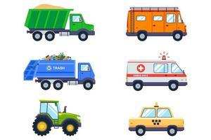 conjunto de vehículos de transporte vector
