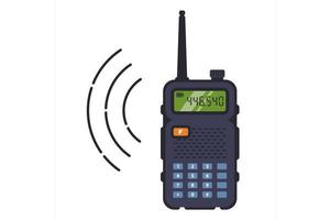 Black walkie-talkie with antenna vector