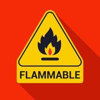Flammable warning triangle sign with long shadow vector