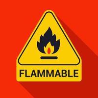 Signo de triángulo de advertencia inflamable con larga sombra