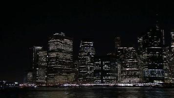 quartiere finanziario di New York City di notte