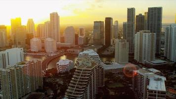 luchtfoto instelling zonsondergang Miami Financial District