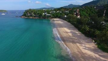 Aerial: Beautiful water on Kata Noi beach.