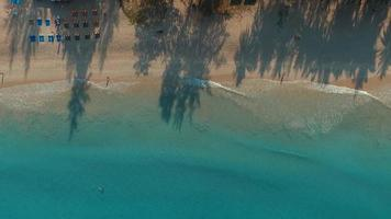 Aerial view on the white sand beach.