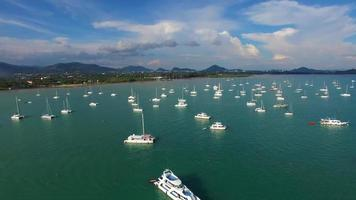 Aerial: Many boats and ships at sea. video