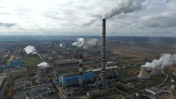 Smoke from industrial factories and plants. Environmental pollution. Aerial