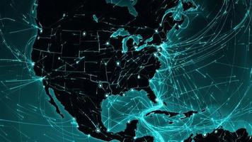 World connections. USA. Aerial, maritime, ground routes and country borders.