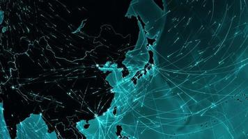 World connections. Asia. Aerial, maritime, ground routes and country borders.