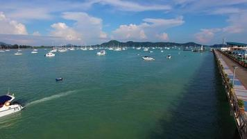 Aerial: Flight from the pier to the boats. video