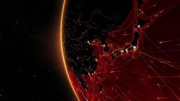 connessioni mondiali. Asia. rotte aeree, marittime, terrestri e confini nazionali. video