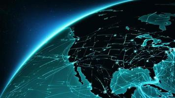 Earth connections. North America-Europe. Aerial, maritime, ground routes/country borders. video