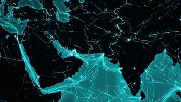 World connections. Middle East. Aerial, maritime, ground routes/country borders.