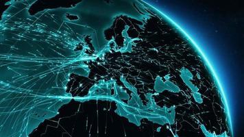 connexions à la terre. Europe-Amérique du Nord. routes aériennes, maritimes, terrestres / frontières nationales. video