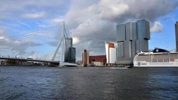 Erasmus Bridge with Rotterdam skyline.