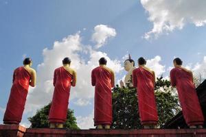 Buddhist Disciple statues at a temple in Sri Lanka