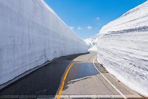 Road between Snow wall at Tateyama Kurobe Alpine Route
