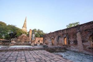 Asian religion architecture. Ancient Buddhist pagoda ruins, Thai