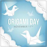 ilustración del día del origami con pájaros grúa vector
