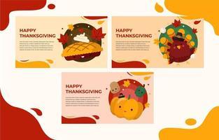 Cute Thanksgiving Banner Set vector