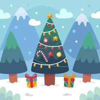 Christmas Tree Under The Snowfall vector
