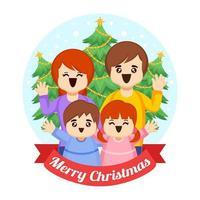 Joyful Christmas Family Gathering vector