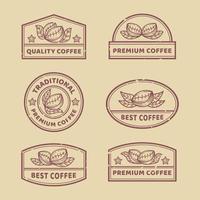 colecciones de logos de café de contorno vintage vector