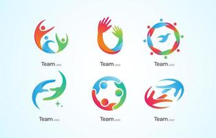 Team Work Logos With Different Personality Colors vector