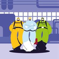 hombres con trajes de protección, industria química