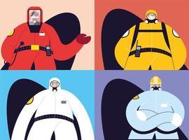 tarjetas con hombres en trajes de protección.