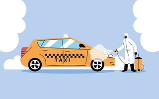 Service taxi disinfection by coronavirus or covid 19 vector