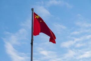 Chinese flag on flagpole against blue sky